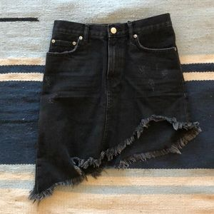 Black asymmetrical denim mini